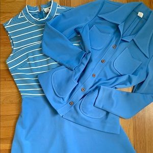 Vintage 70s striped dress w/ jacket 2 piece set M